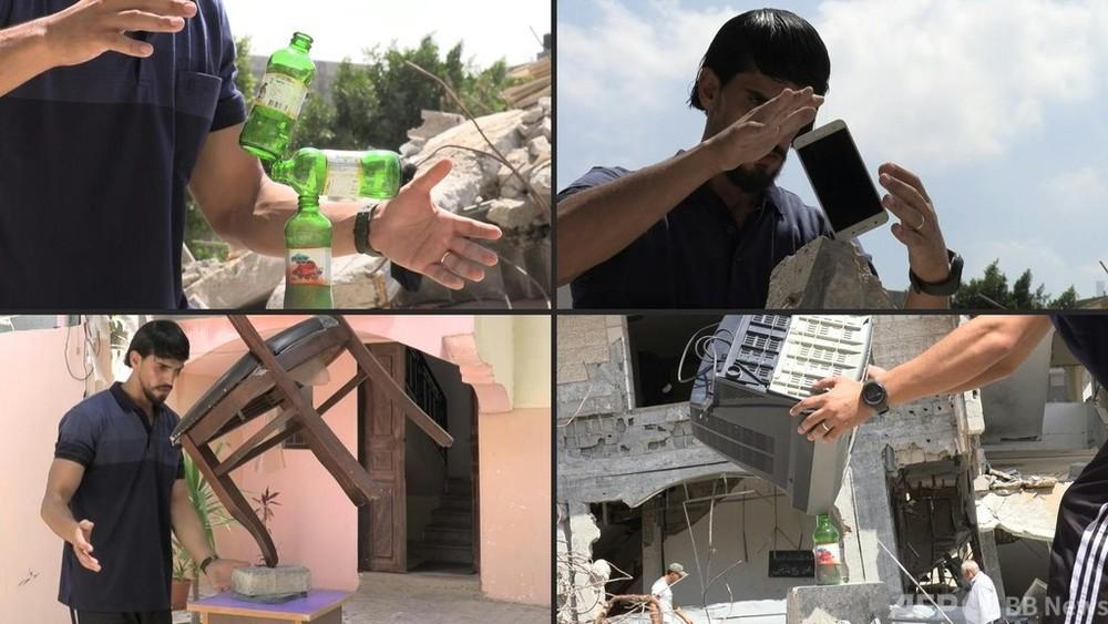 動画:がれきで披露「バランスの芸術」 ガザのアーティスト